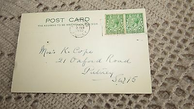 Half Penny Stamps on Old Hand Written Post Card. 1932. Surrey.