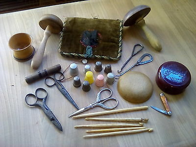 Vintage Antique Bone Bovine Crochet Hooks Sewing Tools and hooks thimbles.+ More