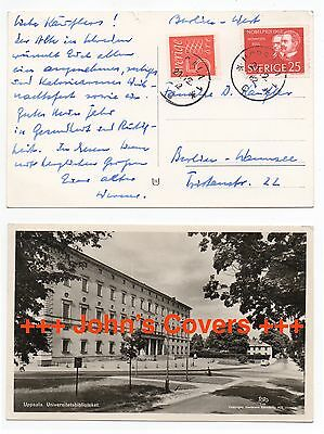 1962 SWEDEN Cover UPPSALA To WANNSEE BERLIN GERMANY Postcard University Library