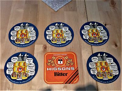 6 X Higsons Beer Mats/coasters  All Different