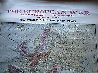 Ca. 1914 LARGE Rolled Color Map of World War One Europe, The World, Leaders Etc.