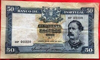 PORTUGAL - Used Banknotes 50 Escudos