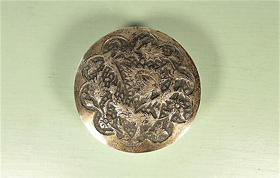 Silver Birds Snuff Box - Vintage Asian Patch Box Trinket Dish
