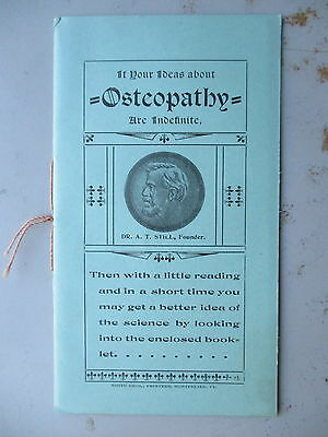 Ca. 1900 Small Booklet Promoting Osteopathy from Newport VT