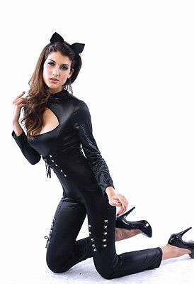 Womens Black Cat Woman Panther Fancy Dress Costume Outfit 12-14 L NEW!