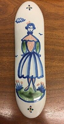 """M. A. Hadley Country Scene Blue 12"""" Long Wall Plaque Lady With Full Skirt"""