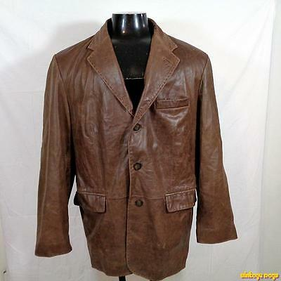 ROUNDTREE & YORKE Soft Lambskin LEATHER JACKET Blazer Mens Size L Brown