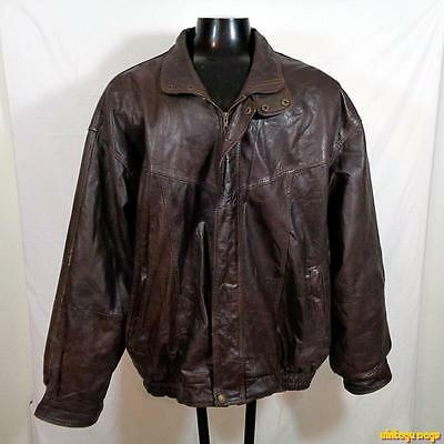 ANCHOR Soft Leather JACKET  Mens Size 4XL brown insulated zippered