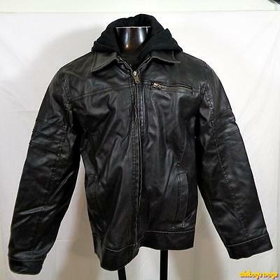 GUESS PVC Faux Leather Biker Jacket Mens Size S small black insulated hooded