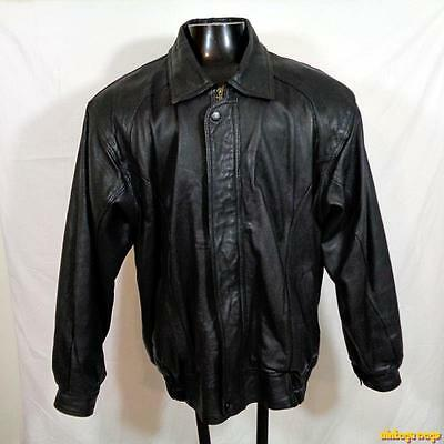 PIERRE CARDIN Lambskin LEATHER JACKET Mens Size L large black zippered insulated