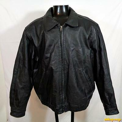 TRADER BAY Soft Leather JACKET Mens Size L large black insulated zippered