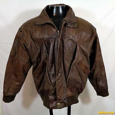 G-III Soft Flight Bomber Leather JACKET Mens Size S Brown insulated zippered