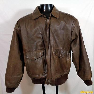 WILSONS Soft LEATHER Flight Bomber JACKET Mens Size L Brown zippered insulated