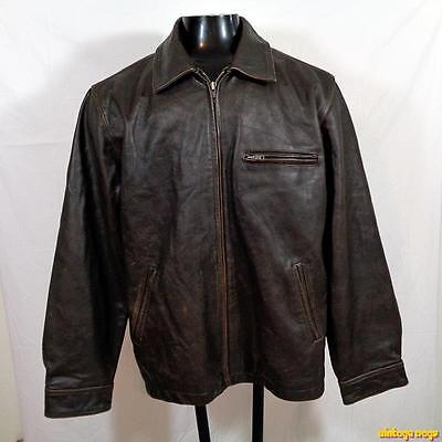 CHEROKEE Heavy Pebbled LEATHER Biker JACKET Mens Size L Brown zippered