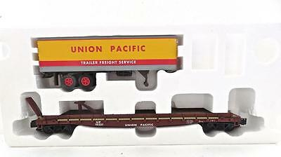 S Helper Show Case Line Union Pacific Flat car with UP trailer MINT OB         2