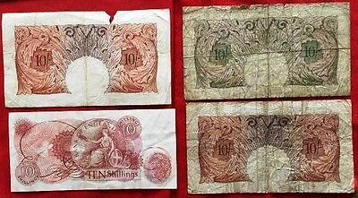 GB 10 Shillings - Used Banknotes x 4