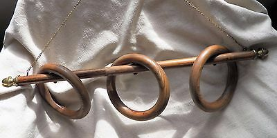 Antique Victorian Towel Rack ~ Oak Wood Rings with Brass plated End Caps