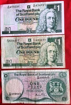 GB (Scotland) - Used Banknotes x 3