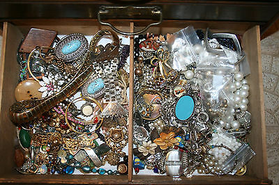 Huge Lot Harvest 100+ Rhinestone Jewelry -Pieces & Parts - Vintage To Modern
