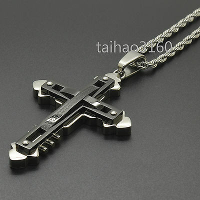 Hot Stainless Steel Black Silver Cross Pendant Necklace Free Chain 24""