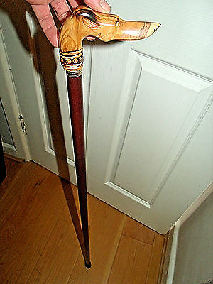 Greyhound Head Walking Stick Olive Carved Wood Whippet Handle Walking Cane 36""