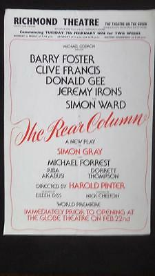 Flyer Richmond Barry Foster Clive Francis Jeremy Irons Simon Ward Pinter Gray