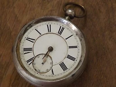 Large Antique  Sterling Silver  Gents Fusee Pocket Watch Working
