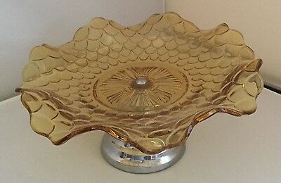 Vintage amber glass cake stand With Crome Stand.