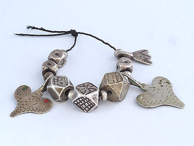 Antique SAHARAUIAN SILVER beads and pendants. Berber, MOROCCO