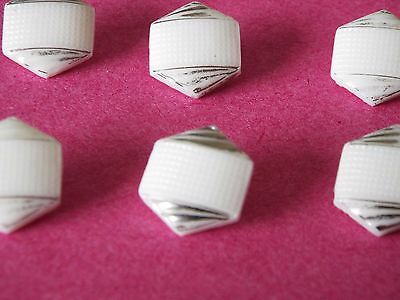 Set of 6 old/vintage hexagonal white glass buttons with silver lustre, art deco?