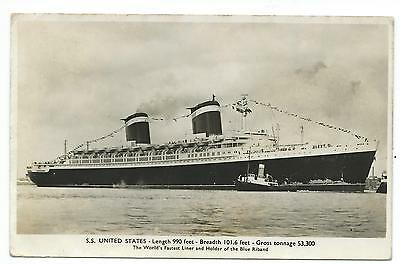 "SHIPPING - S.S. ""UNITED STATES""  Real Photograph Postcard"