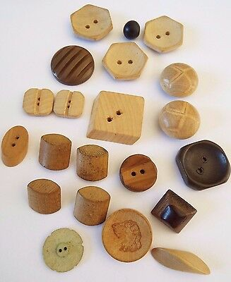 21 old/vintage wooden buttons in a range of shapes and patterns