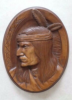 VINTAGE KARL ROTHAMMER 70's - NATIVE AMERICAN INDIAN - WOODEN CARVING PLAQUE