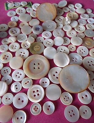 100 Vintage/Old Mother of Pearl Buttons