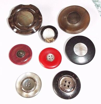 8 old/vintage buttons with Mother of Pearl inlay, some plastic/Bakelite, horn?