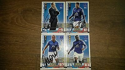 Set Of 4 Hand Signed Everton 14/15 Match Attax Cards