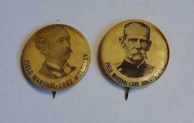 Field Marshal Lord Roberts & Lord Wolseley Boer War Pin Badges 1896