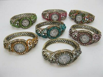 1X New Lady Jewellery Bracelet Cuff Watch w/Rhinestone