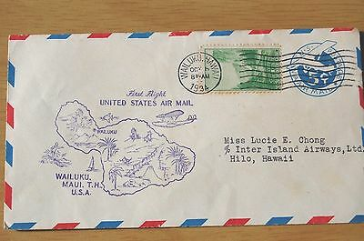 First Flight US Air Mail to Wailuku 1934 USA Cover
