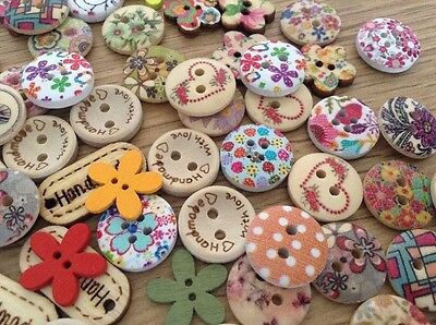 CARD MAKING CLEAROUT X 100 MIXED WOODEN EMBELLISHMENT Lucky Dip Buttons