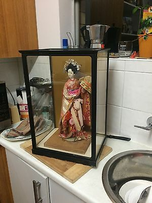 Vintage Japanese Geisha Doll With Display Case - Good Condition