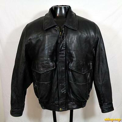 J. PARK Lambskin Leather Flight Bomber JACKET Mens Size L Black insulated
