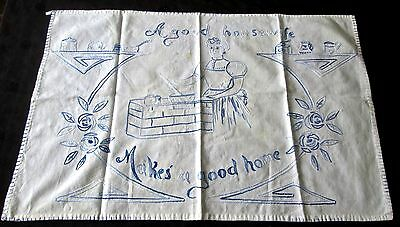 vintage hand embroidered kitchen towel 'good housewife' blue on white 27x18""