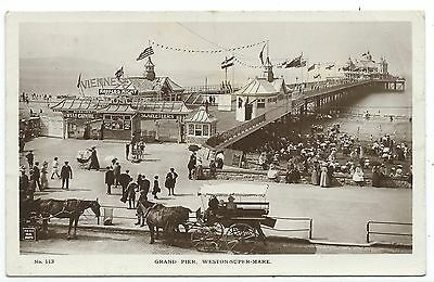 SOMERSET - WESTON SUPER MARE, GRAND PIER  1915 Real Photo Postcard