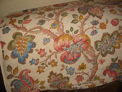 """Large Piece Vintage Heavy Linen Jacobean Fabric Hemmed At 2 Ends 98""""x96""""curtain+"""