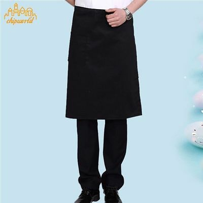 1pc Cooking Half Long Apron With Pocket Restaurant Bar Kitchen Waist Apron Black