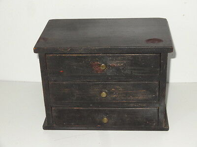 Antique Miniature Small Three Drawer Painted Chest Of Drawers