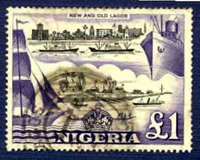NIGERIA-SC#91-£1 LAGOS WATERFRONT-19th & 20th CENTURIES-USED