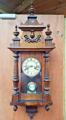 Antique 19th C. Working German Victorian Vienna Regulator Walnut Wall Clock DRCM