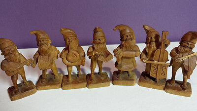 7 Vintage Hand Carved Folk Art Wood Figures Elves Gnomes Band  Wooden 3.5""